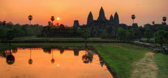 Panorama of sunrise over Angkor Wat Stock Images