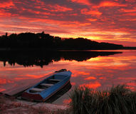 Panorama of sunrise over the lake Stock Image