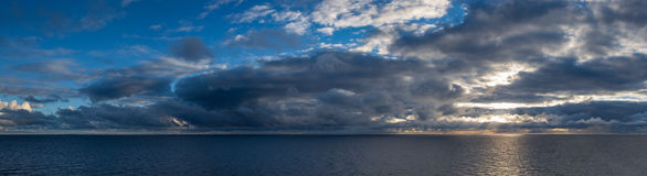 Panorama of sunrise over the sea. Stock Photography