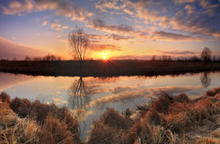 Panorama of sunrise on the river Royalty Free Stock Photos