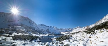 Panorama sunrise Tatry snow Royalty Free Stock Images