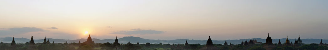 Panorama at the sunrise of the temple complex of Bagan Stock Photo