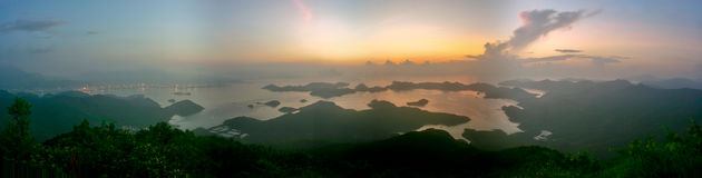 Panorama of sunrise royalty free stock photography