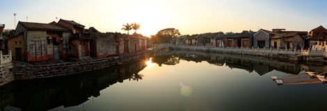 Panorama of sunset of an ancient Chinese village Royalty Free Stock Photography