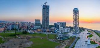 Panorama of sunset in Batumi Stock Photography
