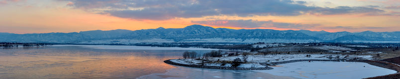 Panorama of Sunset at Chatfield State Park Royalty Free Stock Photography