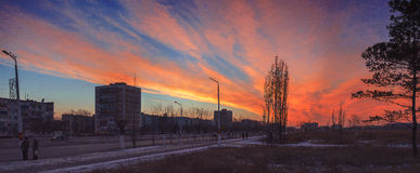 Panorama of sunset Stock Images