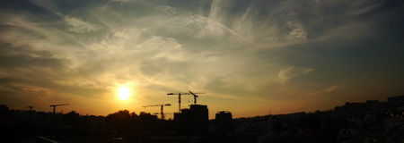 Panorama - sunset - construction site Stock Photos
