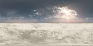 Panorama sunset. Environment map. HDRI. Equidistant projection. Spherical panorama. landscape. 3d rendering stock illustration