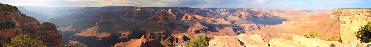 Panorama at Sunset on the Grand Canyon. A beautiful panorama at sunset in the Grand Canyon of Arizona Royalty Free Stock Images