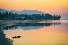 Panorama of sunset on Koh Pha Ngan island, Thong Sala beach, Thailand. Silhouette view Stock Photography