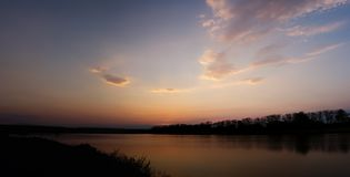 Panorama of sunset at the lake Stock Photo