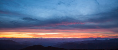 Panorama of sunset over Blue Ridge mountains Royalty Free Stock Photo