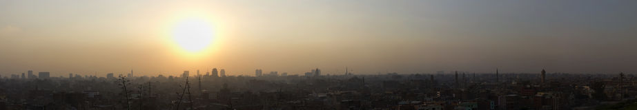 Panorama of a sunset over Cairo Stock Photo