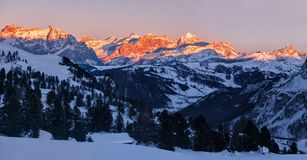 Panorama of sunset over Dolomites Fanis, South Tyrol, Italy Stock Photography