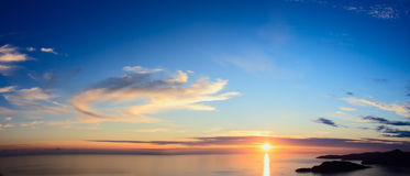 Panorama of sunset over sea Royalty Free Stock Images