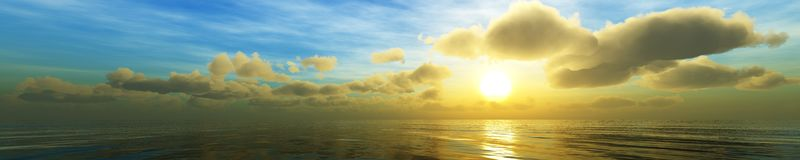 Panorama Sunset over a tropical island. Royalty Free Stock Photo