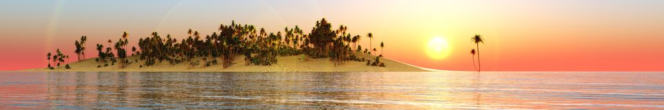 Panorama Sunset over a tropical island. Royalty Free Stock Photos