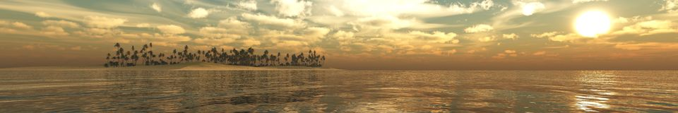 Panorama Sunset over a tropical island. Royalty Free Stock Image