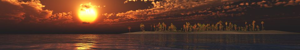 Panorama Sunset over a tropical island. Royalty Free Stock Images