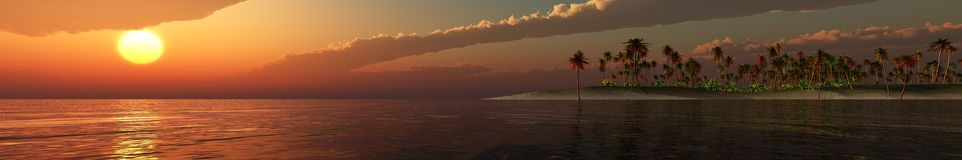 Panorama Sunset over a tropical island. Stock Photography