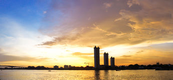 Panorama sunset on the river Royalty Free Stock Photo
