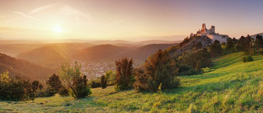 Panorama sunset - ruin of castle Cachtice, Slovakia Royalty Free Stock Photography
