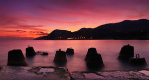 Panorama of the sunset on the sea Stock Images