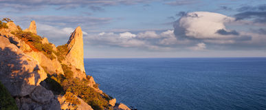 Panorama of the sunset on the sea Royalty Free Stock Photography