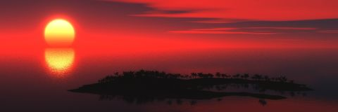 Panorama of sunset on the sea. Island. seascape. palms Royalty Free Stock Photo