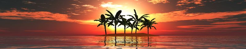 Panorama of sunset on the sea. Island. seascape. palms Royalty Free Stock Photography