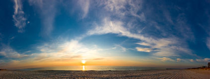 Panorama of sunset seacoast Royalty Free Stock Photos