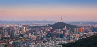 Panorama of Sunset at Seoul, South Korea Royalty Free Stock Photos