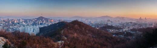 Panorama of Sunset at Seoul, South Korea Royalty Free Stock Images
