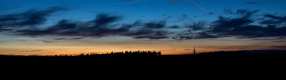 Panorama of sunset sky. Evening mood in the Black Forest stock illustration