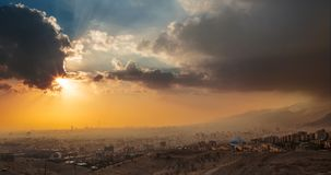 Panorama sunset View of Tehran City The Capital Of Iran with Dra. Matic sky Royalty Free Stock Photography
