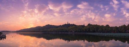 Panorama of Sunset at West Lake in Hangzhou, China Stock Photo