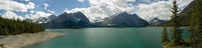 Panorama supérieur de lac Kananaskis Images libres de droits