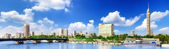 Panorama sur le Caire, bord de mer du Nil. Photo stock