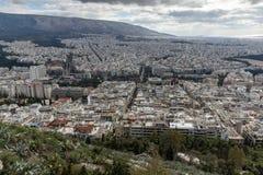 Panorama surpreendente da cidade de Atenas do monte de Lycabettus, Grécia Imagens de Stock Royalty Free