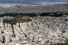 Panorama surpreendente da cidade de Atenas do monte de Lycabettus, Grécia Fotos de Stock