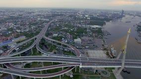 Panorama suspension bridge. Panorama Industrial Ring suspension bridge in Bangkok city Thailand, aerial shot stock video footage