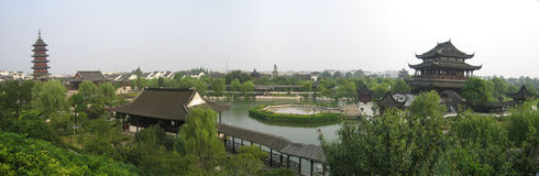 Panorama of suzhou garden. With pagoda and lake Stock Images
