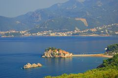 Panorama of Sveti Stefan, Montenegro Royalty Free Stock Photos