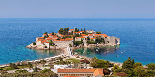 Panorama of Sveti Stefan view, Montenegro Royalty Free Stock Images