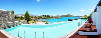 Panorama of swimming pool at luxury hotel Stock Image