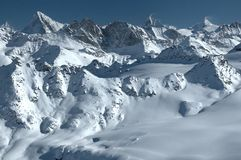 Panorama of swiss alps and matterhorn Royalty Free Stock Photos