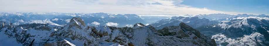 Panorama of the Swiss Alps. Panoramic photo of a mountain range in Switzerland with bird's-eye view Royalty Free Stock Image
