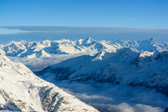 Panorama of swiss alps in wintes Royalty Free Stock Photo