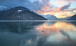 PANORAMA OF SWISS MOUNTAINS LAKE SUNSET, SWITZERLAND Stock Images